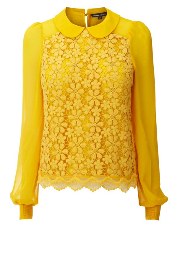Yems fash Brights 4a---- Yellow Vintage Blouse